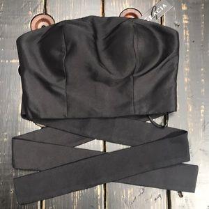 Gracia Crop Top with Wraparound Bow tie
